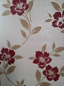 Cream Wallpaper With Brown Flowers