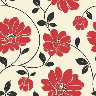 Cream Wallpaper With Red Flowers
