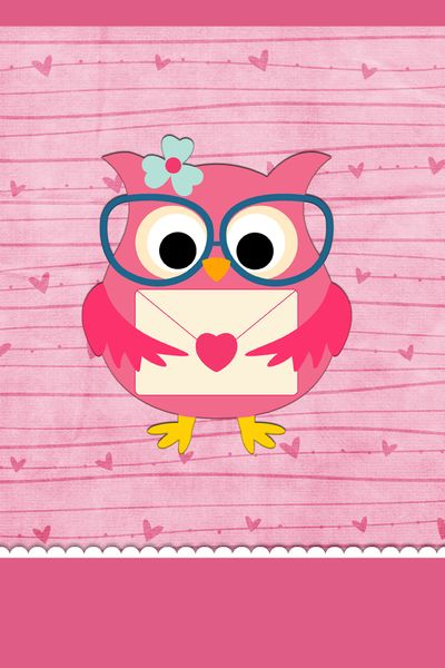 Cute Pink Owl Wallpaper