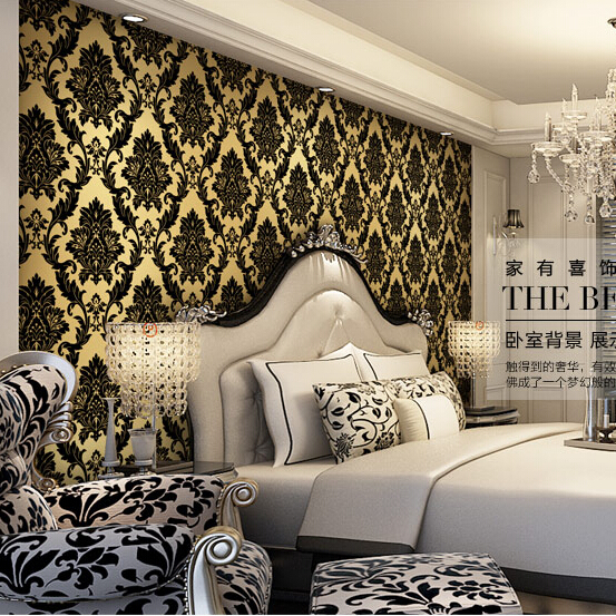 Download Damask Wallpaper Black And Gold Gallery
