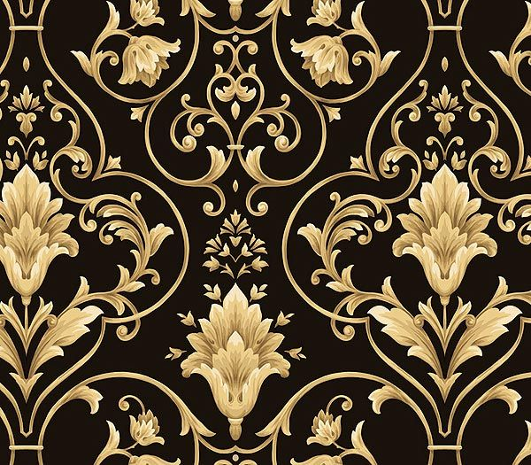 Damask Wallpaper Black And Gold