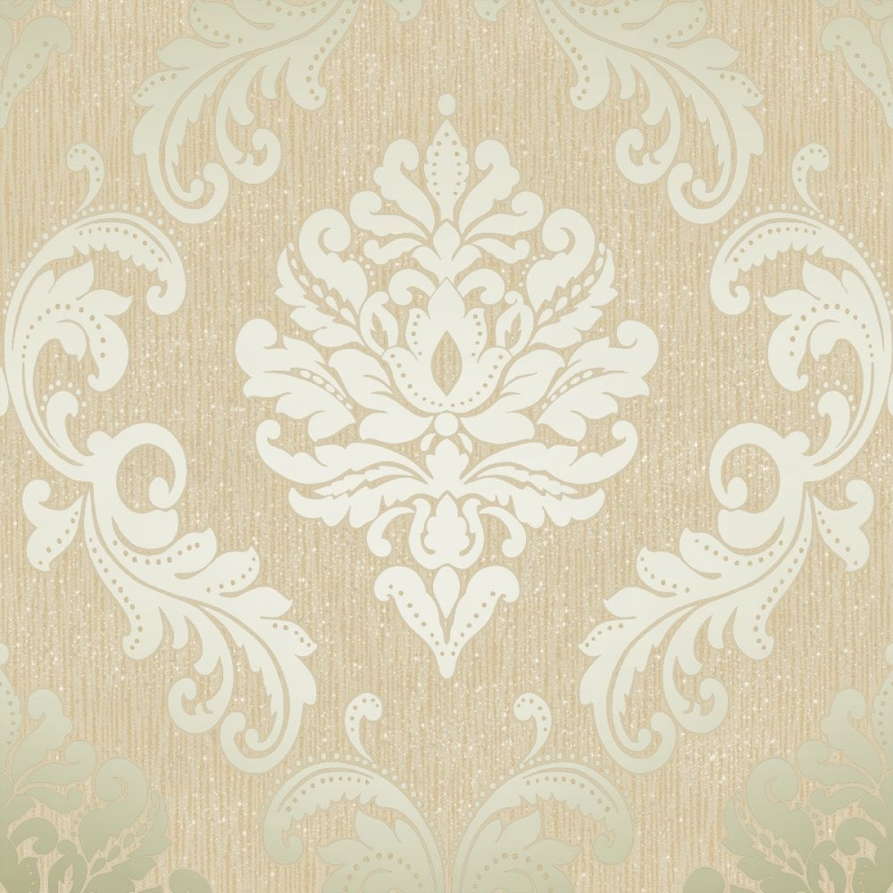 Damask Wallpaper Gold Cream