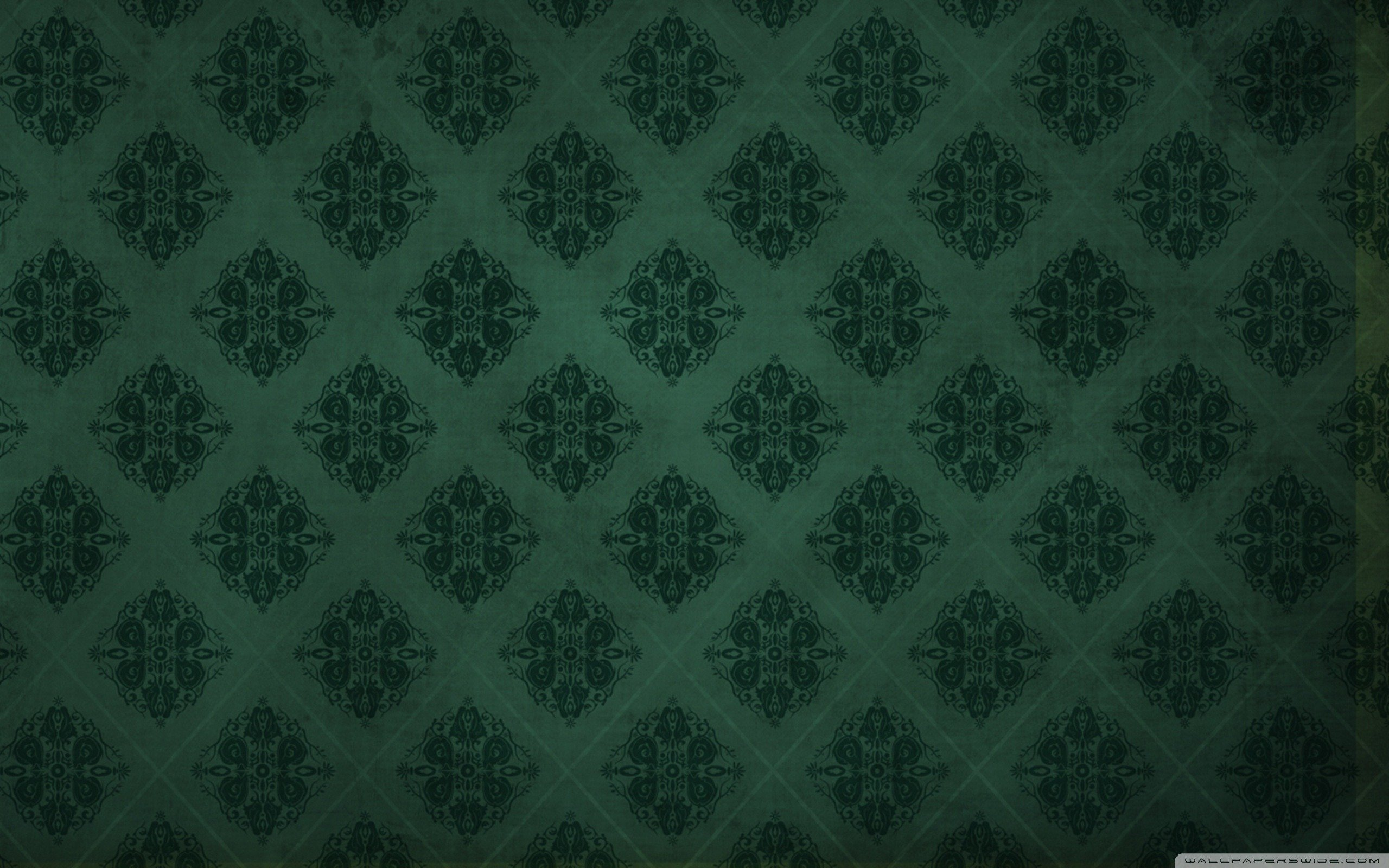 Dark Green Damask Wallpaper