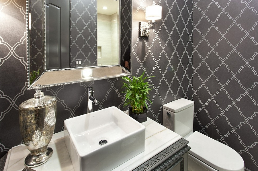 Dramatic Wallpaper For Powder Room