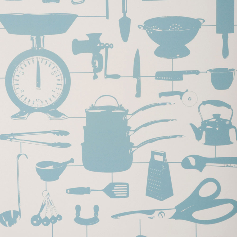 Duck Egg Blue Kitchen Wallpaper