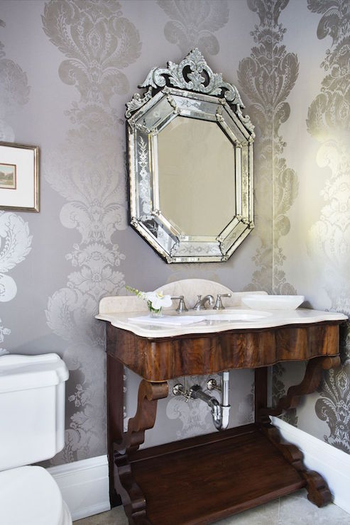 Elegant Wallpaper For Powder Room