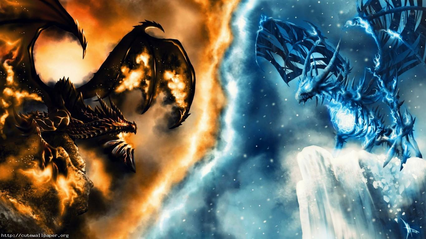 Fire And Ice Dragon Wallpaper
