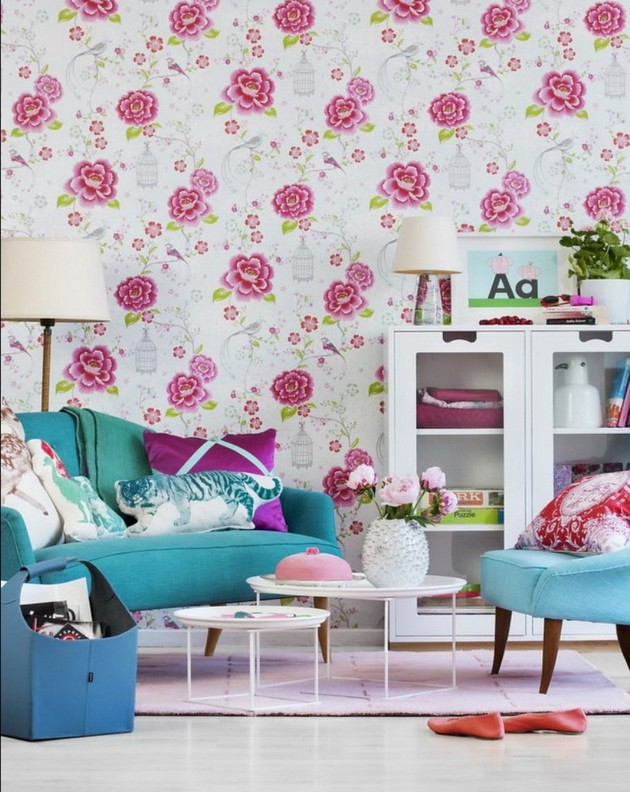 Flower Wallpaper Living Room