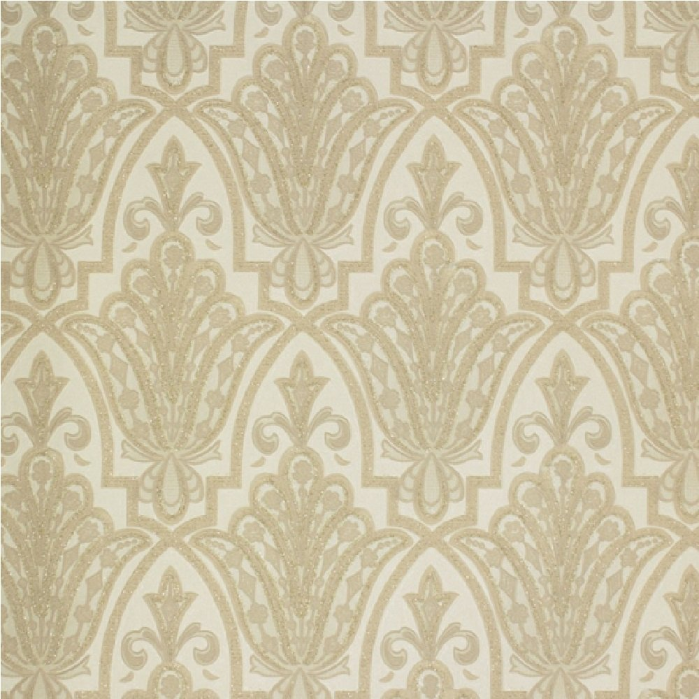 Brown and gold damask wallpaper