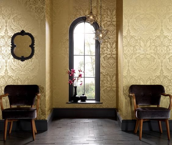 Gold And Brown Damask Wallpaper