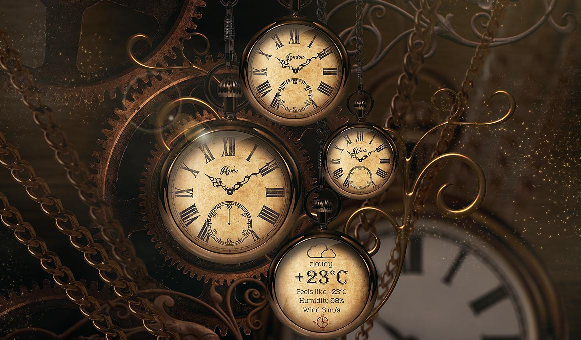 Gold Clock Live Wallpaper