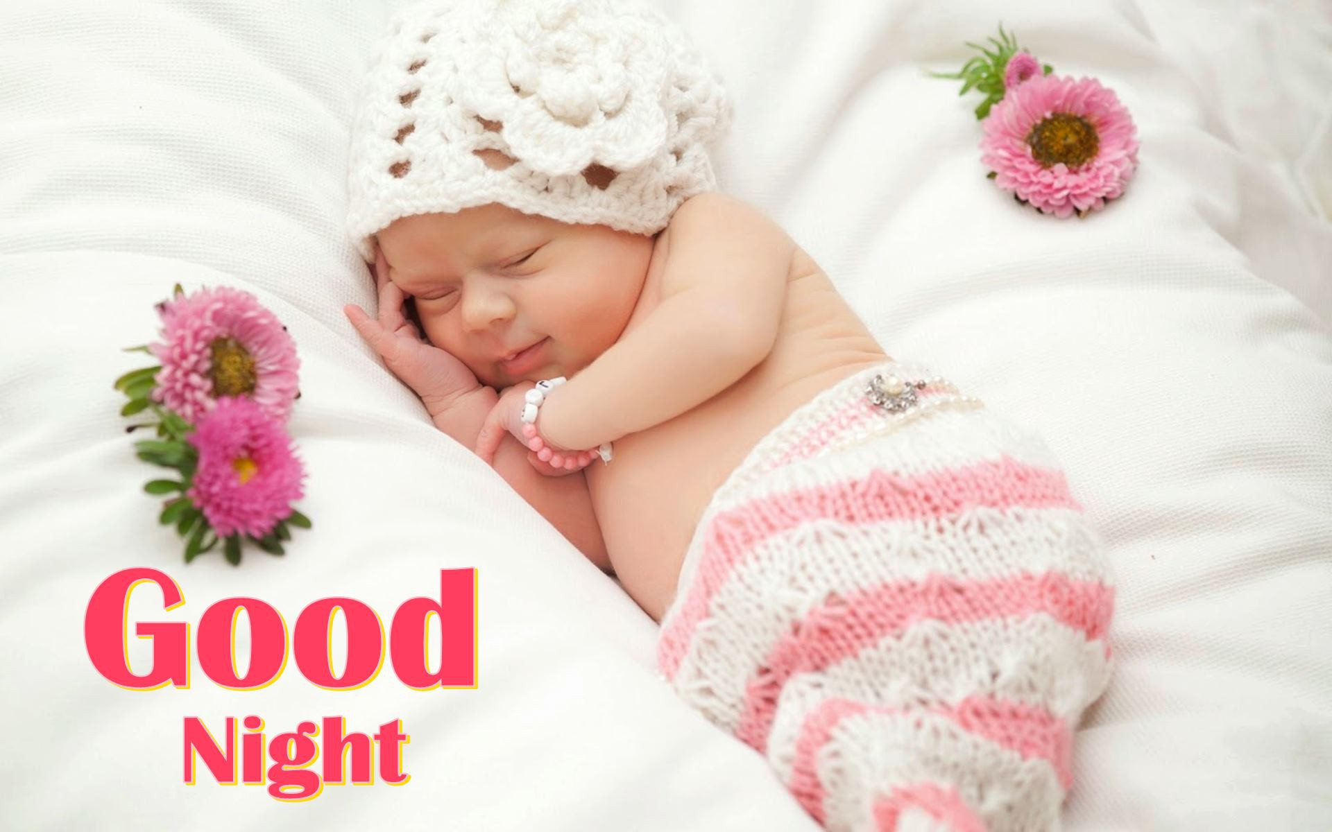 Good Night Wallpaper With Cute Baby