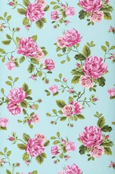 Green And Pink Floral Wallpaper