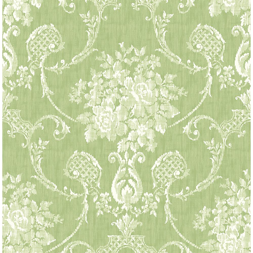 Green And White Damask Wallpaper
