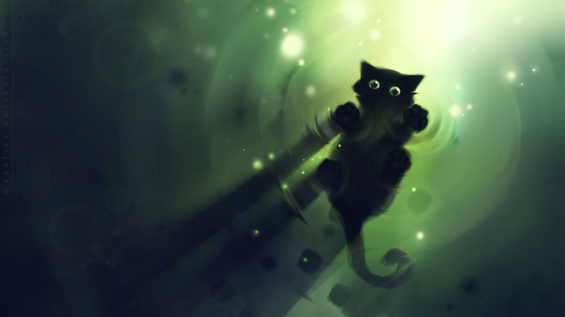 Green Cat Wallpaper
