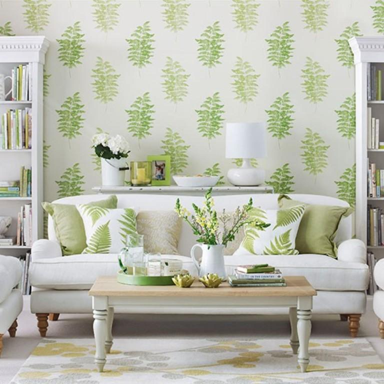 Green Living Room Wallpaper