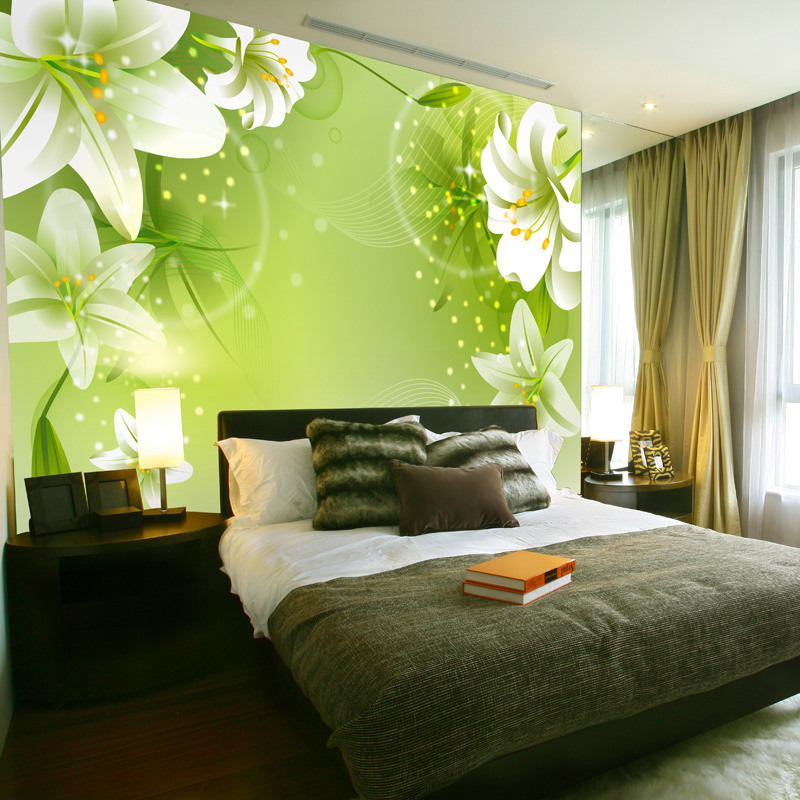 Green Wallpaper Bedroom