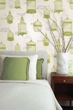 Green Wallpaper Feature Wall