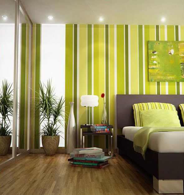 Grey And Green Striped Wallpaper