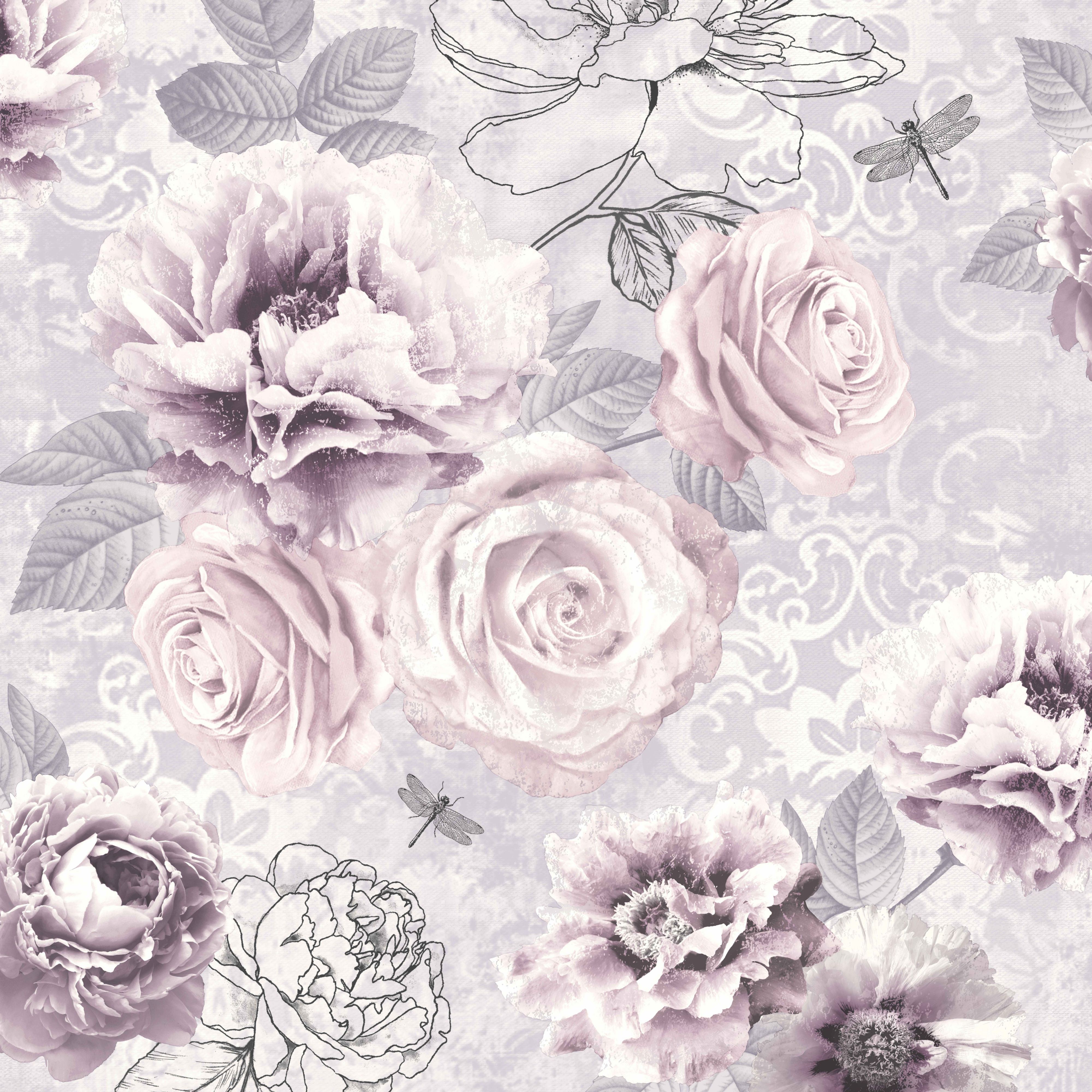 Grey And Pink Floral Wallpaper