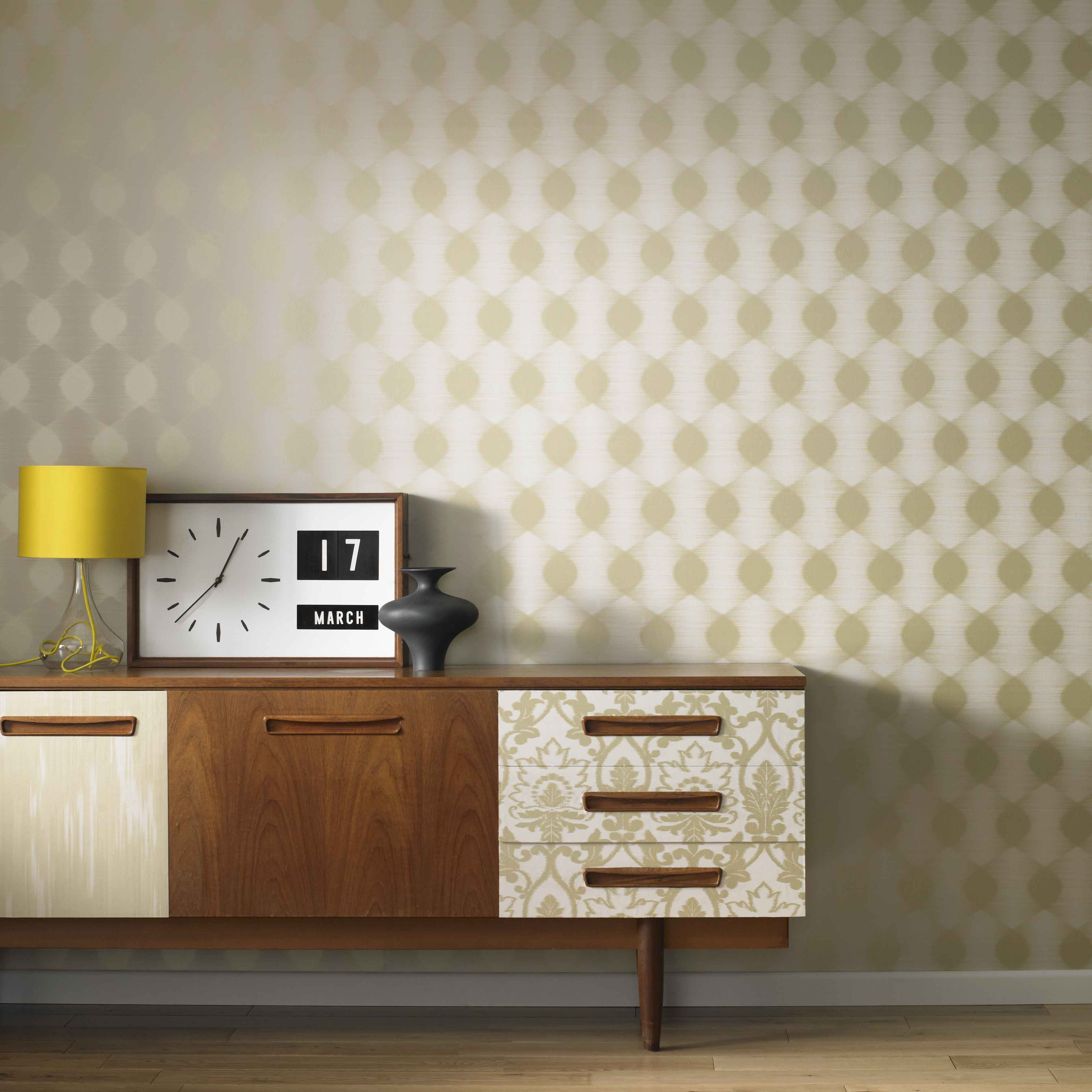 Hanging Patterned Wallpaper Feature Wall