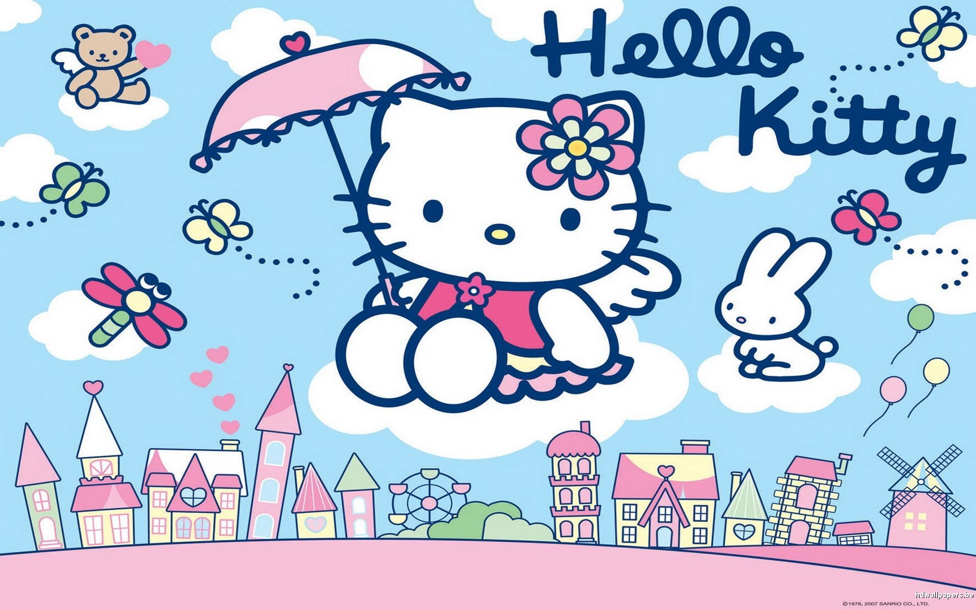 Hello Kitty Wallpaper Blue And Pink