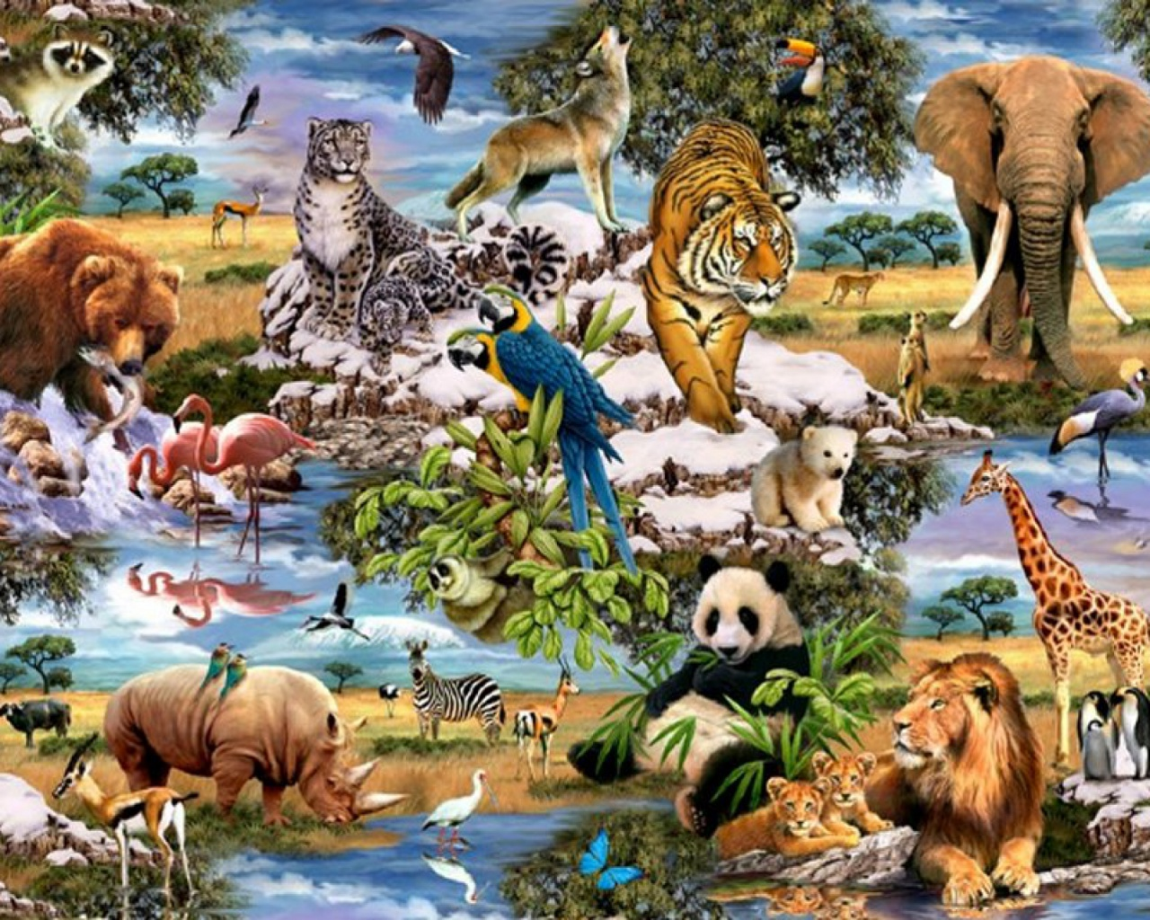 Jungle Wallpaper With Animals