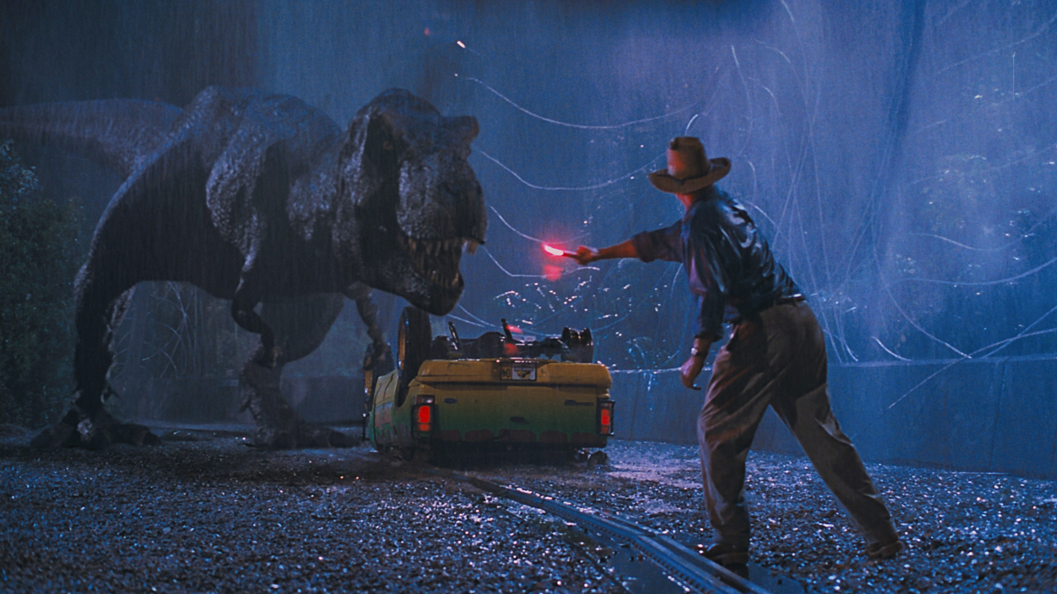 how does jurassic park use cinematic