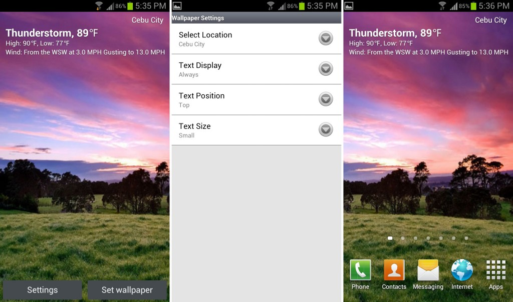 Live Weather Wallpaper For Android Phone