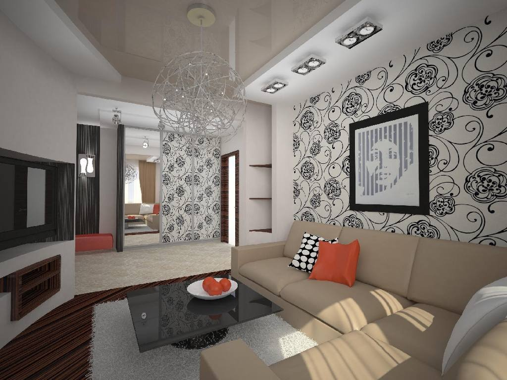 Living Room With Wallpaper Design
