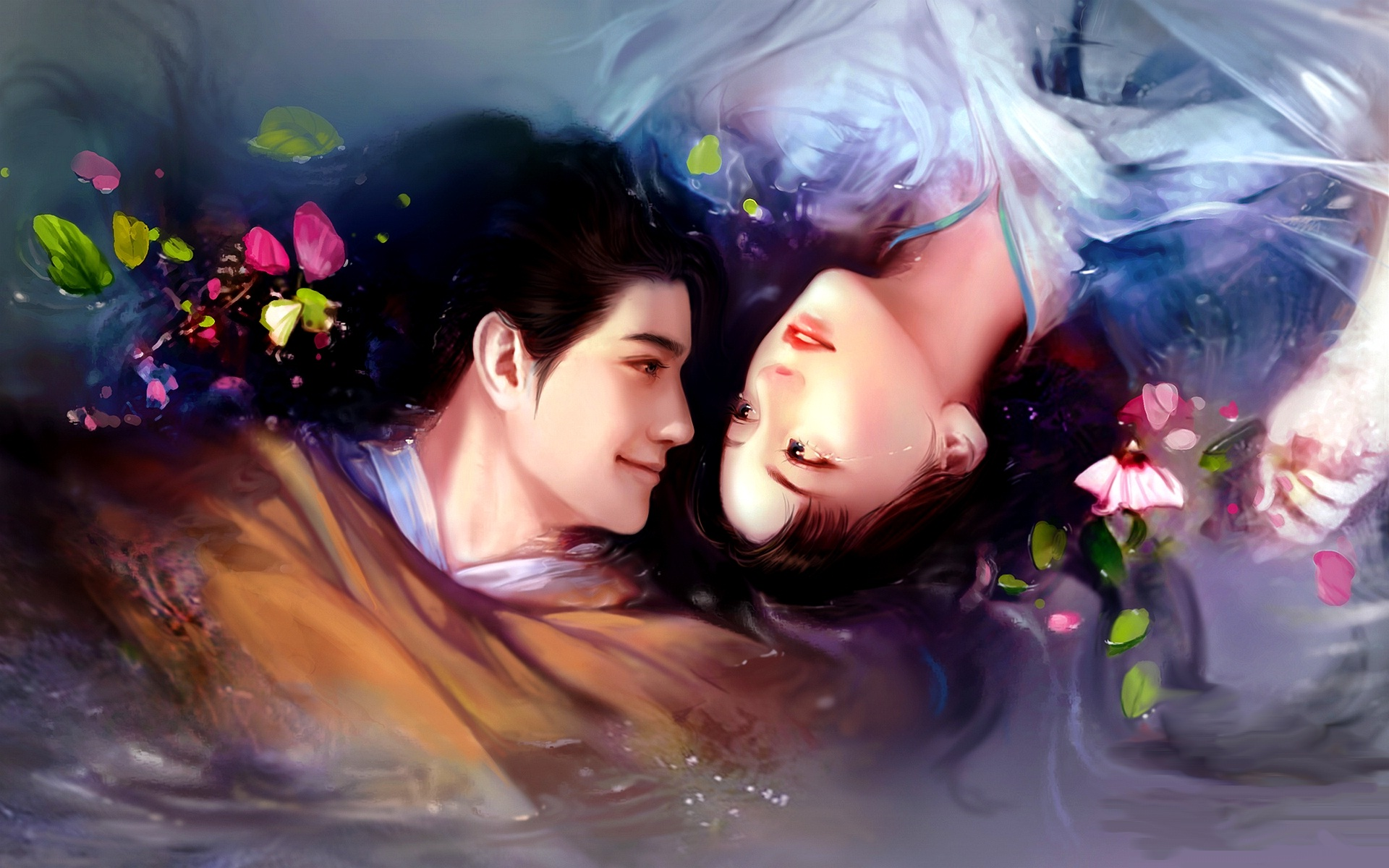 Download love couple art wallpaper gallery - Couple wallpaper download ...