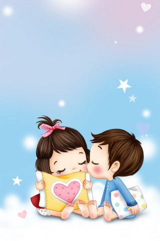 Lovely Couple Cartoon Wallpaper