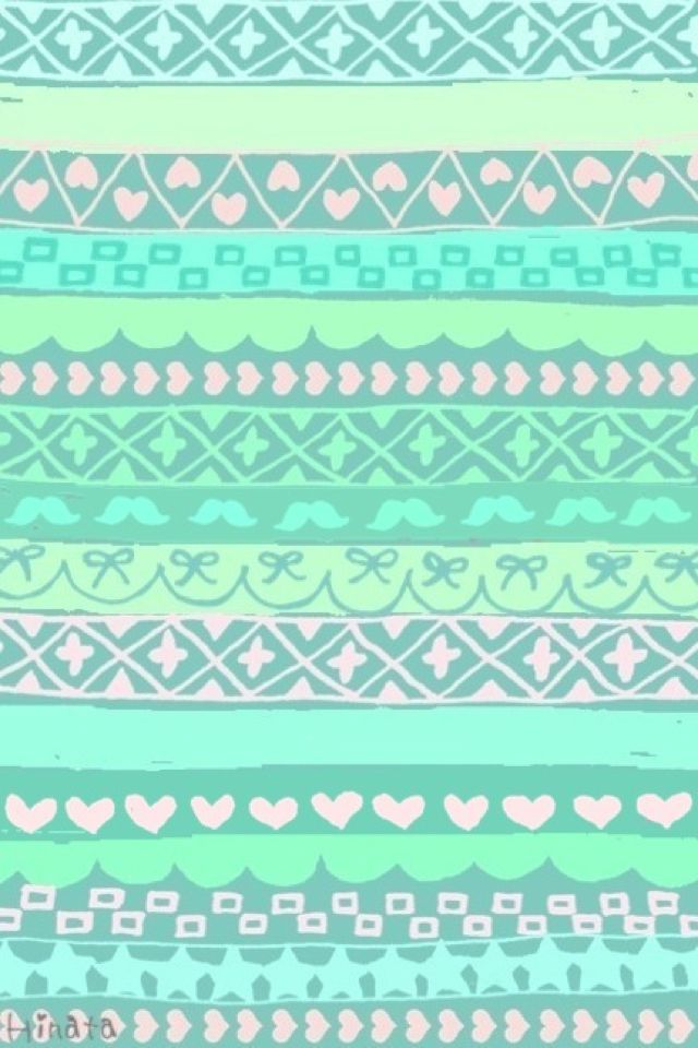 Mint Green Patterned Wallpaper