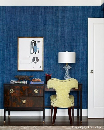 Navy Blue Grasscloth Wallpaper