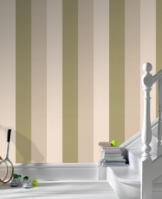 Olive Green Striped Wallpaper