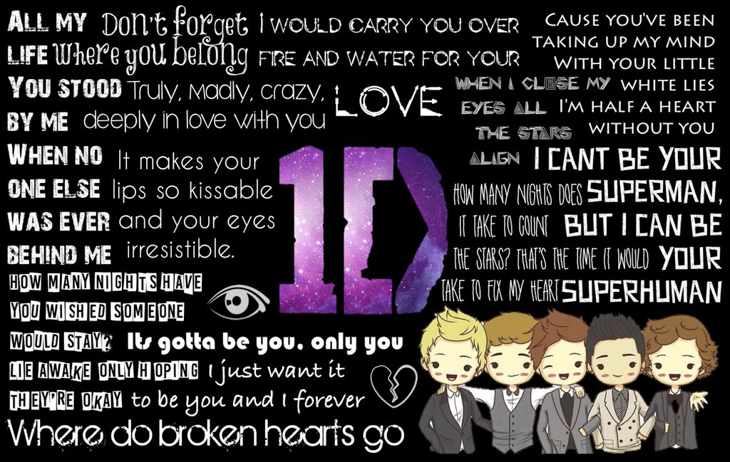 One Direction Lyrics Wallpaper