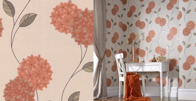 Orange Brown And Cream Wallpaper