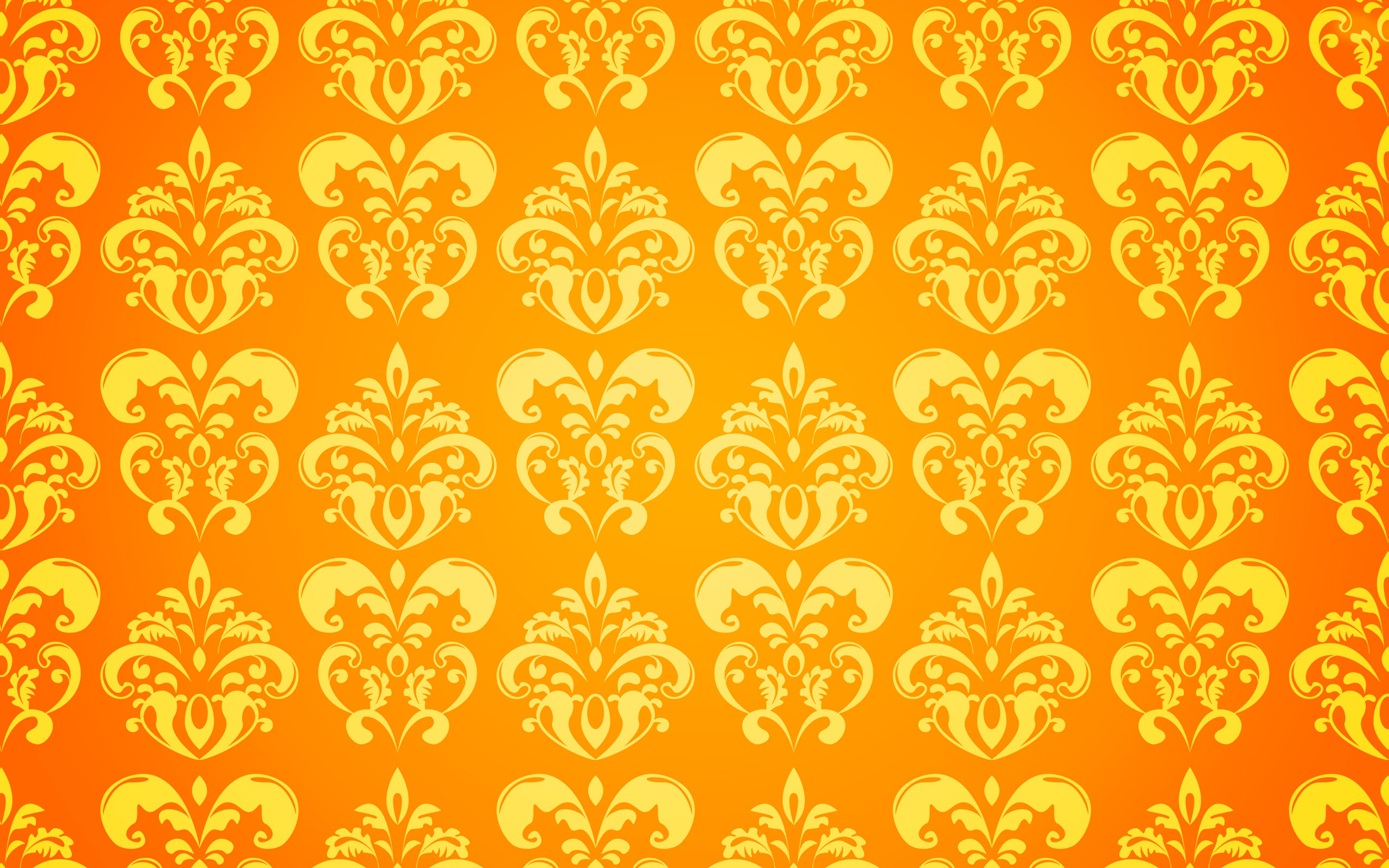 Orange Flowered Wallpaper