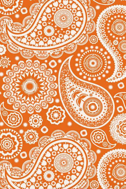 Orange Paisley Wallpaper