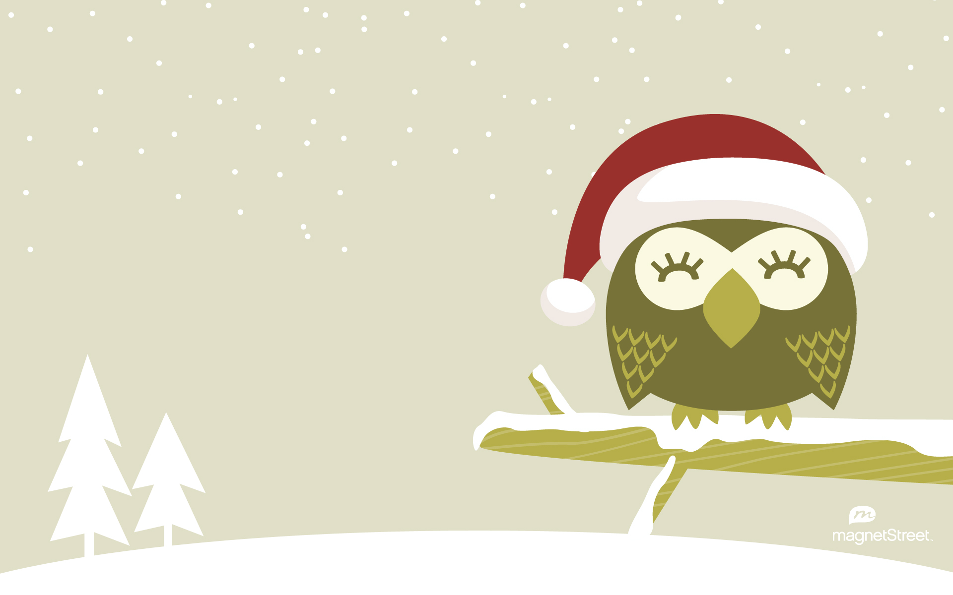 Owl Christmas Wallpaper