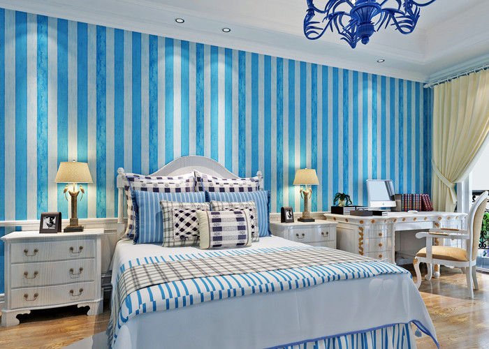 Pale Blue And White Striped Wallpaper