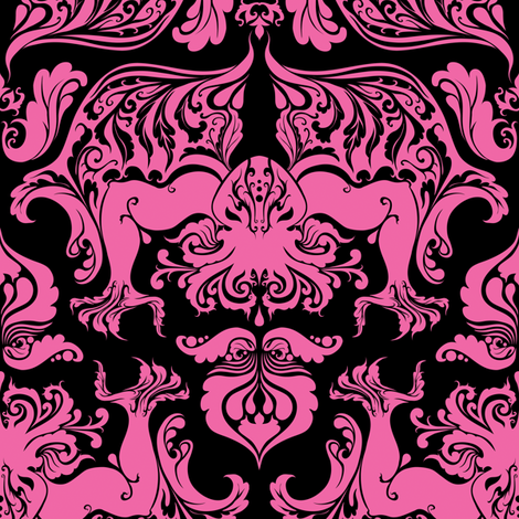 Pink And Black Patterned Wallpaper