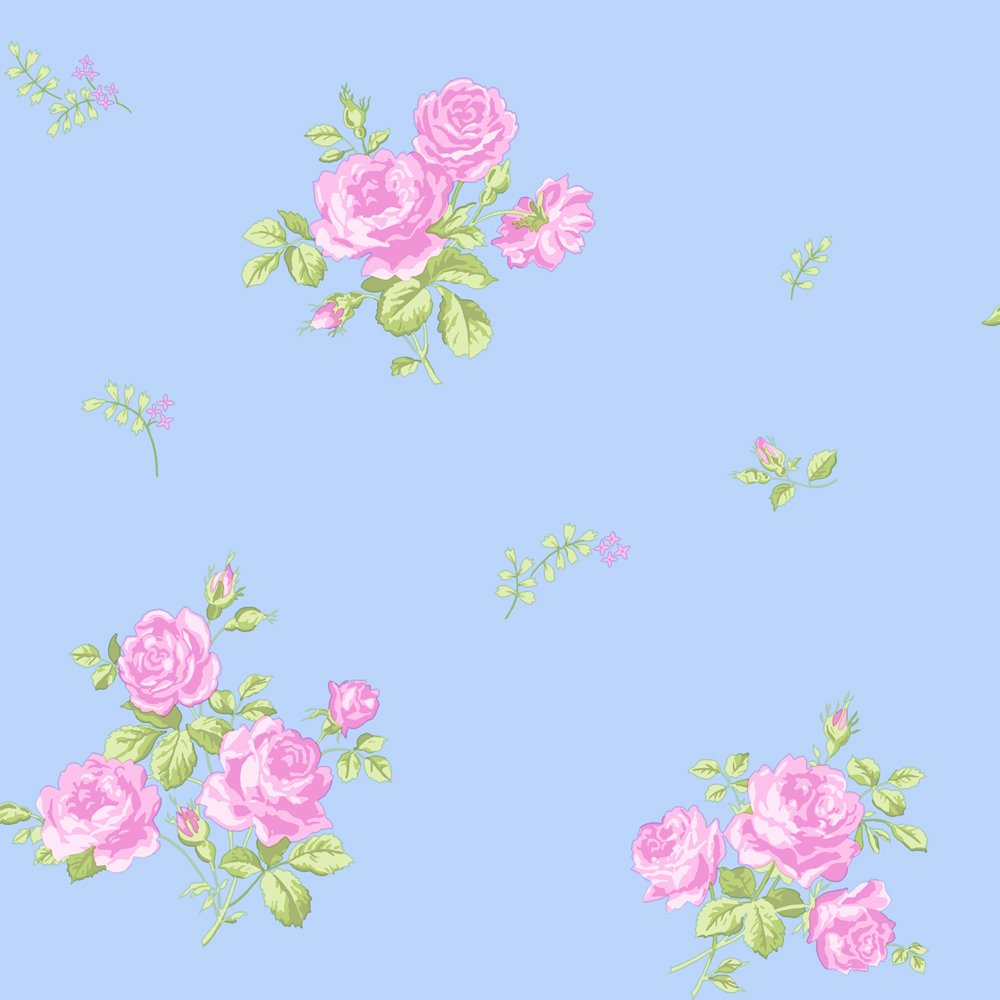 Pink And Blue Flower Wallpaper