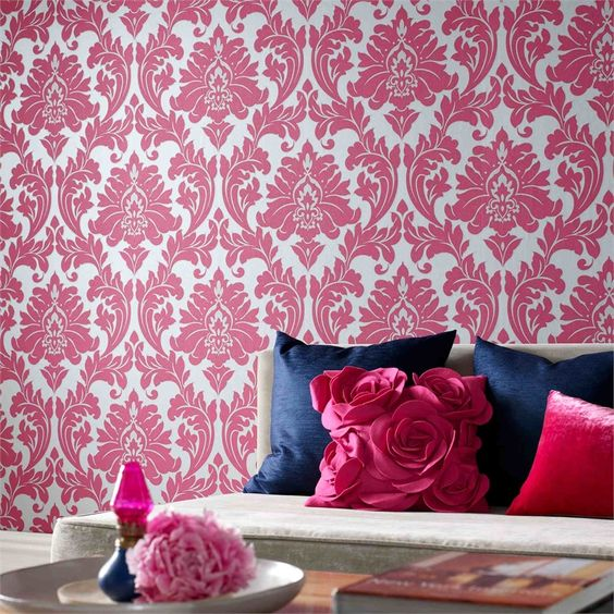 Pink And Silver Damask Wallpaper