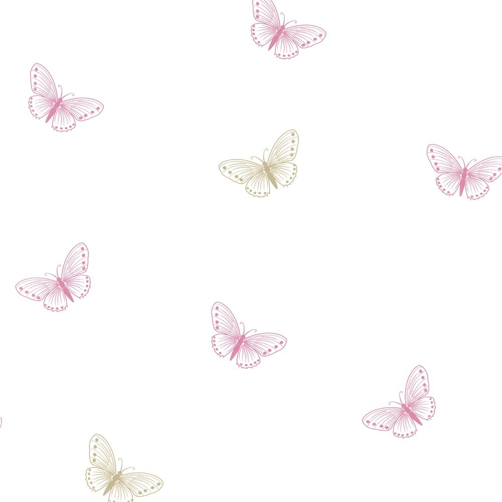 Pink And White Butterfly Wallpaper