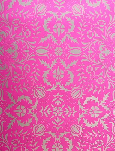 Pink Silver Damask Wallpaper