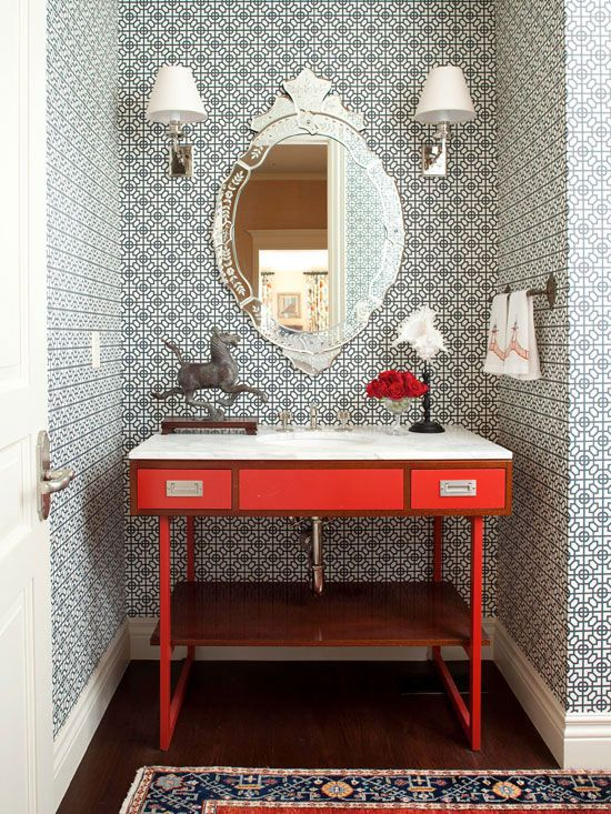 Powder Rooms With Wallpaper