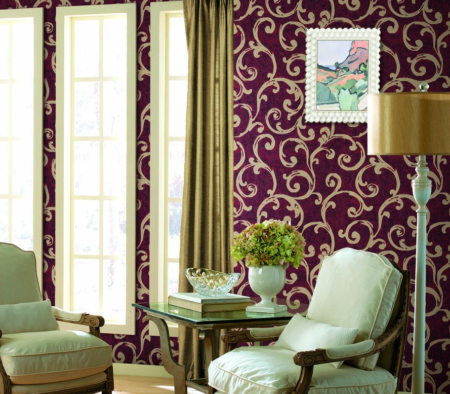 Purple Wallpaper Living Room