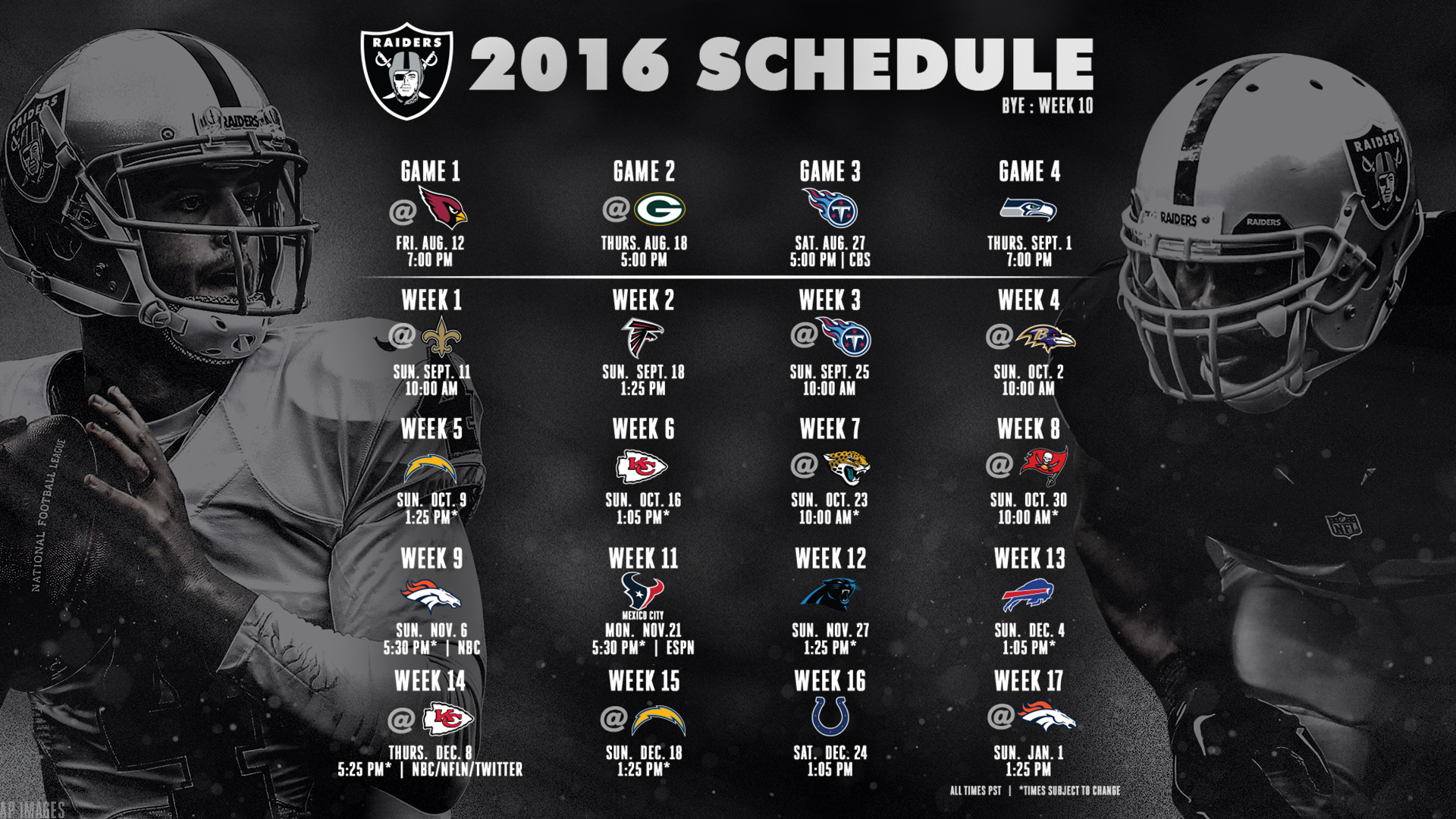 Raiders Wallpaper Schedule