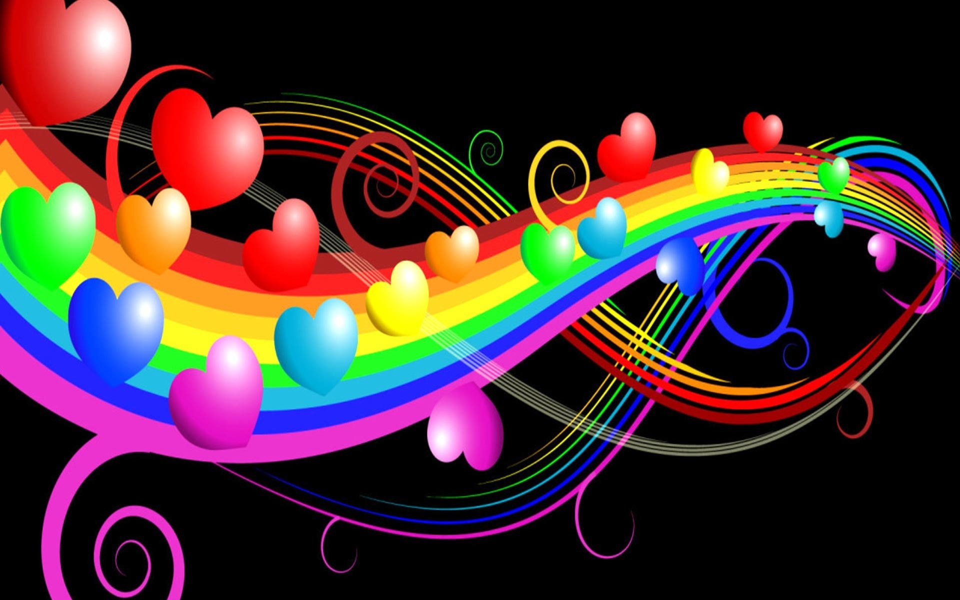 Rainbow Hearts Wallpaper